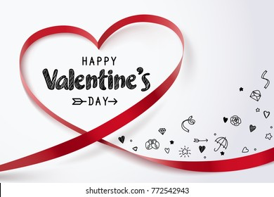 Red heart ribbon and Happy valentine's day with doodles of love icon on white background, vector art and illustration.