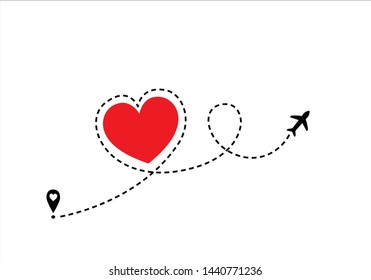 red heart route vector design Airplane line path icon of air plane flight route with start point and dash line trac. illustration