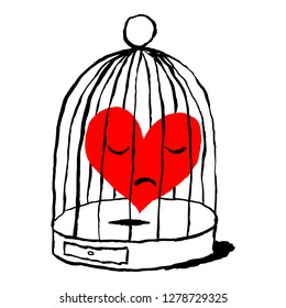A red heart is sad in the cage for the bird isolated on white background. Greeting card for the holiday feast of Saint Valentine Day. Sketch drawing was drawn with the brush and ink.