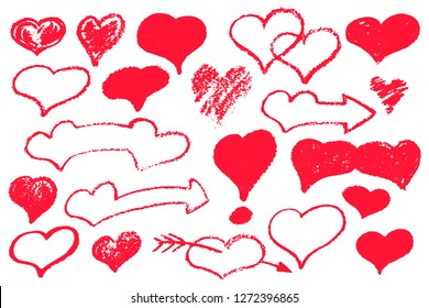 Red heart set of textured icons. St Valentine vector illustration on white background. Red chalk heart logo or stamp for love letter. Heart arrow and banner with text place. Red heard bubble isolated