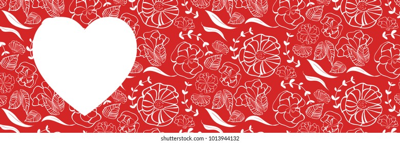 Red heart shape with floral pattern background for love, romance, wedding and marriage web banner design - Copy space
