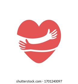 Red heart shape with hand embrace. Hug yourself logo. Vector