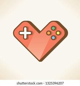 Red heart shape joystick or gamepad. Concepts: love for video games, flirting, Valentines day card, controlling heart diceases, fitness, healthy lifestyle, aerobic exercise, cardiology medicine etc.