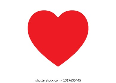 Red heart shape love icon for valentine day.