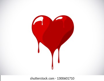 Red heart shape melting with drops. Bloody heart symbol for logo, branding.