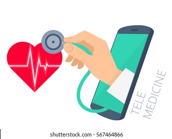 Red heart shape with pulse line, doctor's hand holding a stethoscope through the phone screen checking heartbeat. Tele, online, remote medicine flat concept illustration. Vector isolated design.
