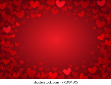 red heart shape vector background, love and valentine day concept, space for text or message design