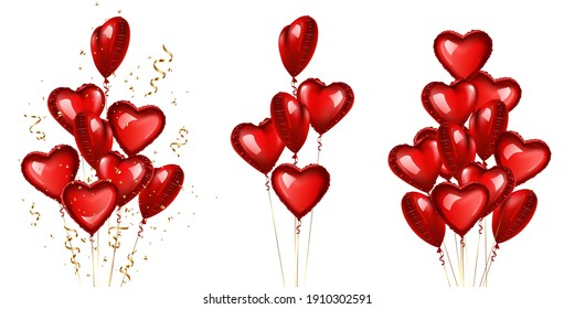 Red heart shaped balloons set, isolated on white.
