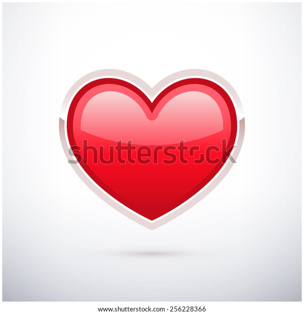 Red Heart Shaped Button Stock Vector (Royalty Free) 256228366