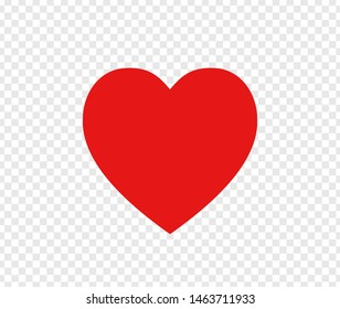 Red heart sign isolated on transparent background. Valentines day icon. Hand drawn heart shape. World heart day concept. Love icon. Vector illustration