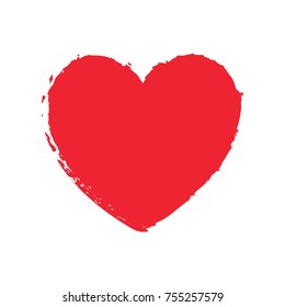 Red heart silhouette drawing by brush. Valentines day. Vector illustration.