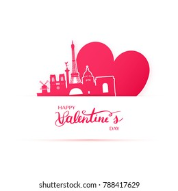 Red heart and silhouette of Paris city paper stickers. Valentine card in paper art style.