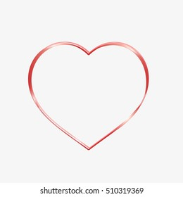 Red heart sparkly. Glittering heart outline, tape. Heart with flower. Valentine's Day
