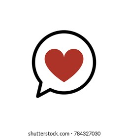 Red heart in a speech bubble. Valentine heart symbol vector