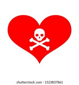 Red heart vector. heart icon with danger skull in the center. dangerous love