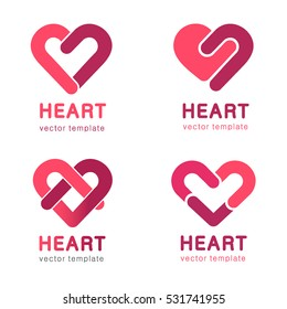Red heart - vector set logo design. Medicine and health care concept. Charity and philanthropy.