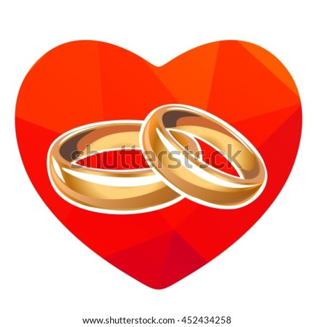Red Heart Wedding Rings Isolated On Stock Vector Royalty Free