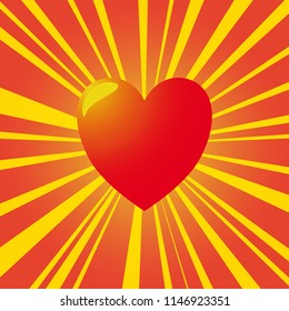 A red heart with yellow rays and a shine in the background