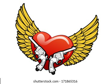 Red heart with yellow wings