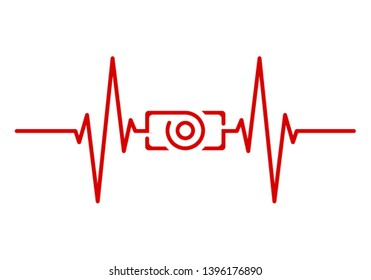 Red Heartbeat with Camera Shape Centered Line isolated on white background