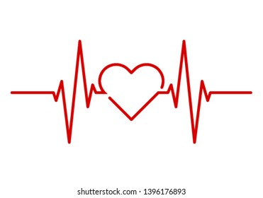 Red Heartbeat with Heart Shape Centered Line isolated on white background
