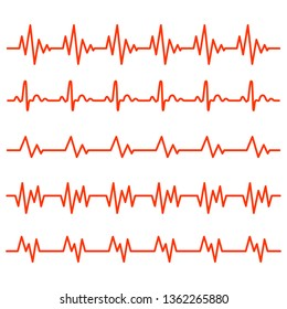 Red heartbeat icons in flat design. Vector illustration. Sign of the electrocardiogram isolated.
