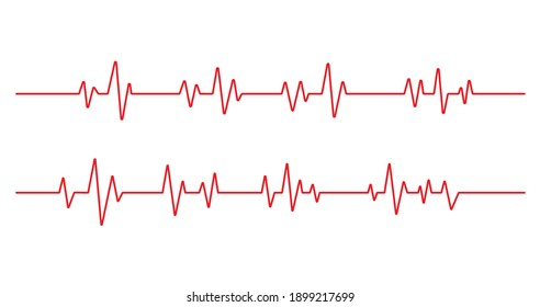 Red heartbeat line icon on white background. Pulse Rate Monitor. Vector illustration.