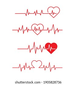 Red heartbeat line icon. Pulse Rate Monitor. on white background. Vector illustration.