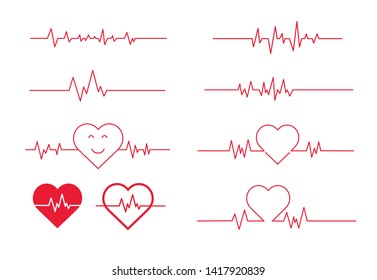 Red heartbeat line icon. Vector illustration. on white background