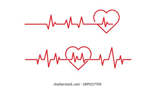 Red heartbeat line icons on white background. Pulse Rate Monitor. Vector illustration.