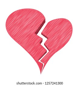 Red Heartbreak Or Broken Heart Or Divorce Isolated On A White Background. Vector Sketch Style Illustration. Unique Pattern Design For Brochures, Web, Printed Materials, Logos