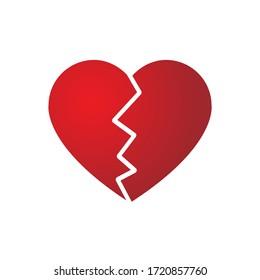 Red heartbreak / broken heart or divorce flat vector icon for apps and websites