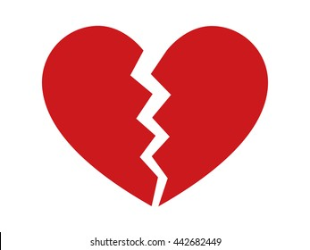 Red heartbreak / broken heart or divorce flat vector icon for apps and websites