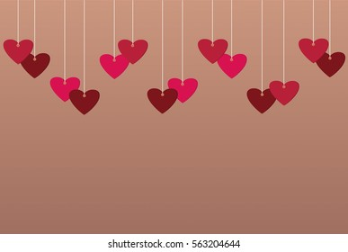 Red hearts and blank paper with a picture hanging on a ribbon. Valentine's Day. Vector illustration. Greeting card with empty space for your label or advertising.