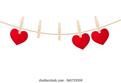 Red hearts with clothespins hanging on clothesline isolated on white background. Valentines Day. vector illustation
