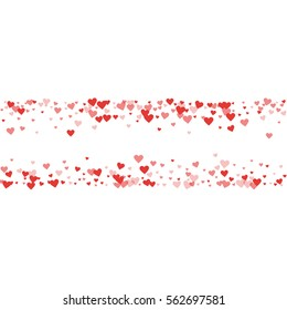 Red hearts confetti. Chaotic shape on white valentine background. Vector illustration.