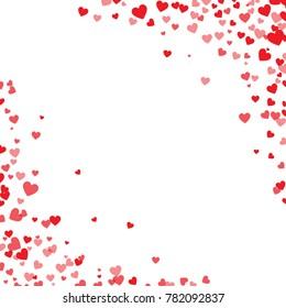 Red hearts confetti. Cornered border on white valentine card background. Vector illustration.