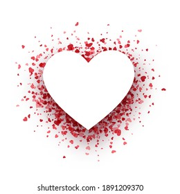 Red hearts confetti heart shape empty frame with space for text. Valentine's Day. Card template. Vector illustration.