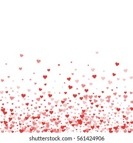 Red hearts confetti. Scatter bottom gradient on white valentine background. Vector illustration.