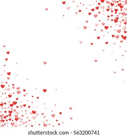 Red hearts confetti. Scatter cornered border on white valentine background. Vector illustration.