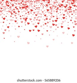 Red hearts confetti. Scatter top gradient on white valentine background. Vector illustration.