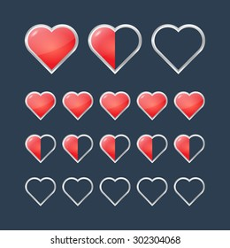 Red hearts with filling rating status icons. Vector illustration
