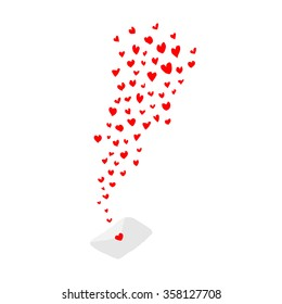 red hearts flying out from love letter white background