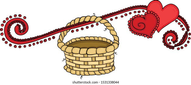 Red hearts of love banner with empty basket hanging