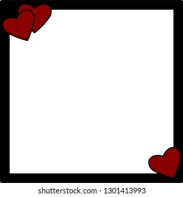 red hearts on a black photo frame