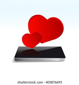 Red Hearts on Screen smar-tphone,  icon isolated on white background