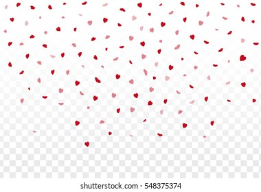 Red hearts petals falling on white background for Valentine's Day,shape of heart confetti background.