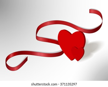Red hearts with red ribbon on white-grey background, vector illustration