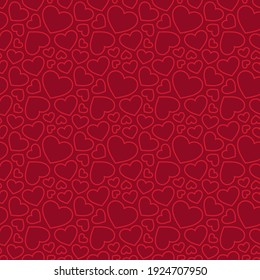 Red hearts seamless pattern. Valentines day background. Love romantic theme. Vector abstract texture with small linear hearts. Stylish minimal design for wrapping, fabric, cloth, print, wedding decor