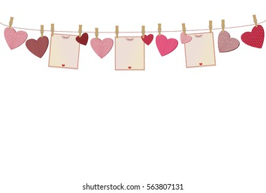 Red hearts and three blanks paper with a picture hanging on a rope. Valentine's Day. Vector illustration. Greeting card with empty space for your label or advertising. On a white background